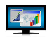 Monitor with graphs on the screen on white background. — Stock Photo