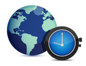 Globe with clock. international time illustration — Stock Photo
