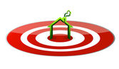 Illustration of a green house in the center of a glossy red target. — Stock Photo
