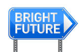 Photo realistic metallic reflective 'bright future' sign — Stock Photo
