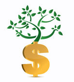 Dollar sign and green plant isolated on white — Stockfoto