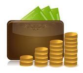 Verhogen portefeuille geld afbeelding ontwerp — Stockfoto