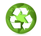 Recycling symbol over Earth globe Conceptual illustration — Stock Photo