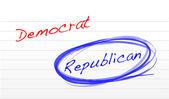 Choosing republican over democrat — Stock Photo