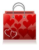 Love hearts valentine shopping bag on white background — Stock Photo