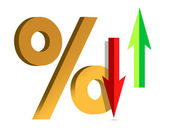 Illustration showing a Rise and Fall in Interest with symbol percent — Stock Photo