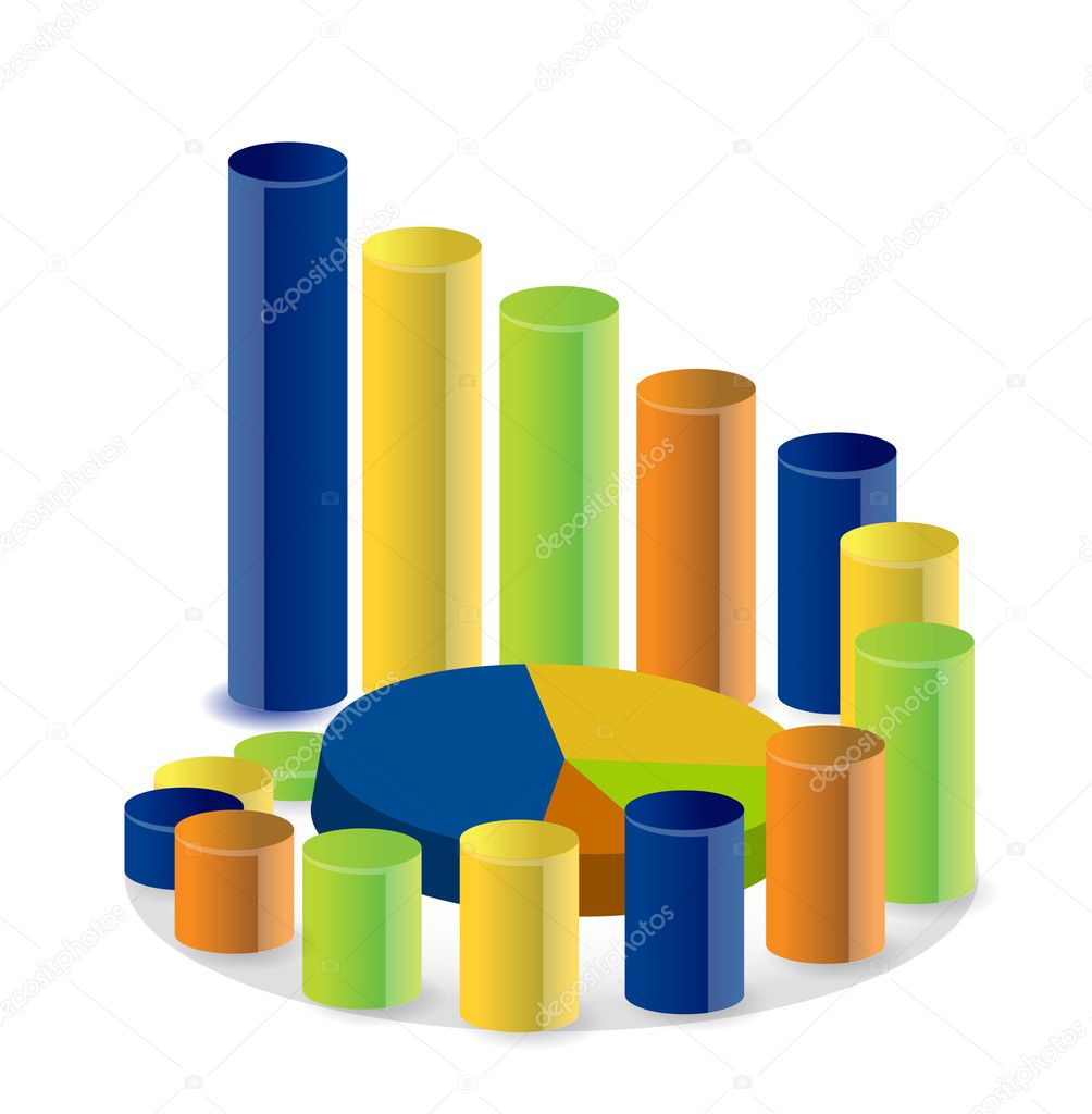 Business graph and pie chart illustration  — Stock Photo #7107189