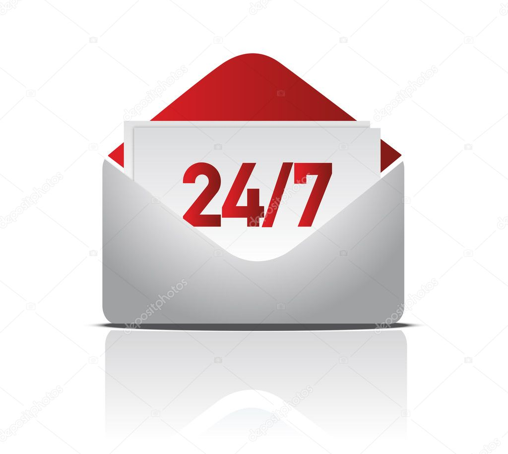 24/7 delivery mail illustration design  — Foto Stock #7107414