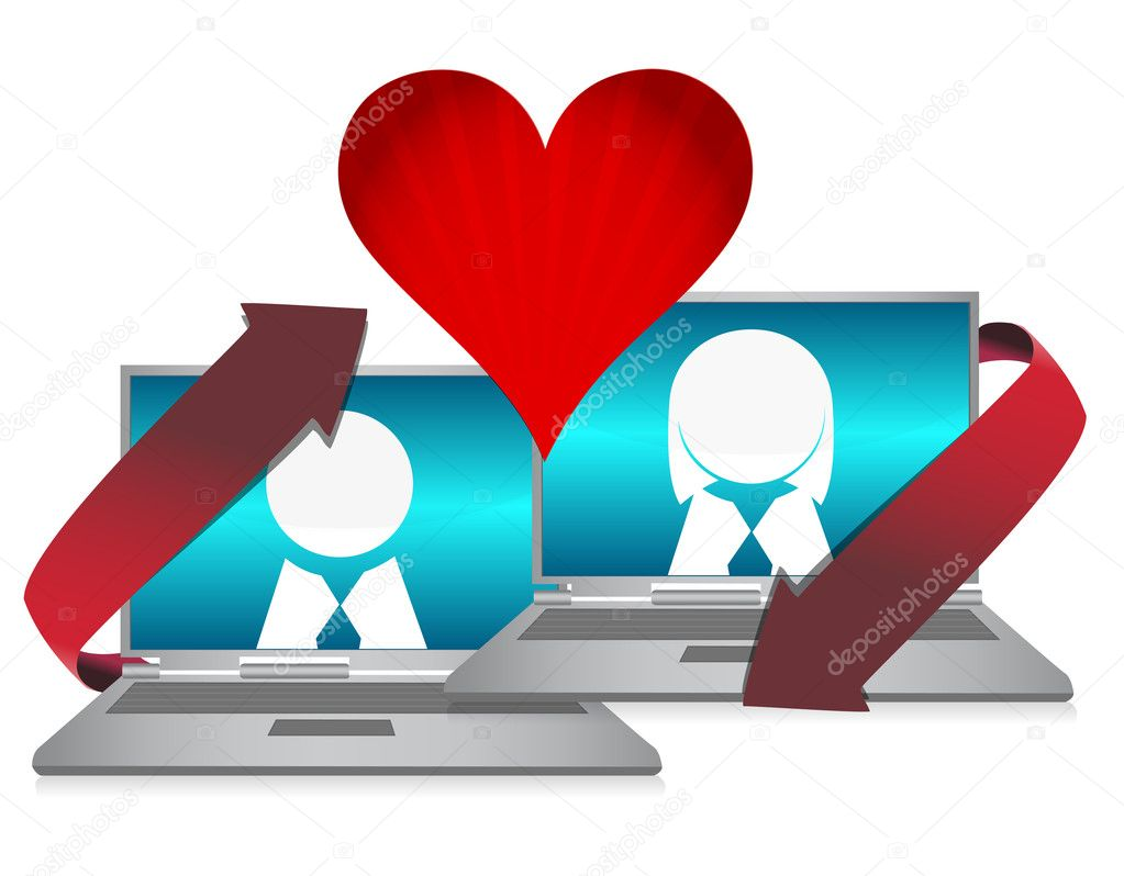 Online dating illustration concept over white  — 图库照片 #7107776
