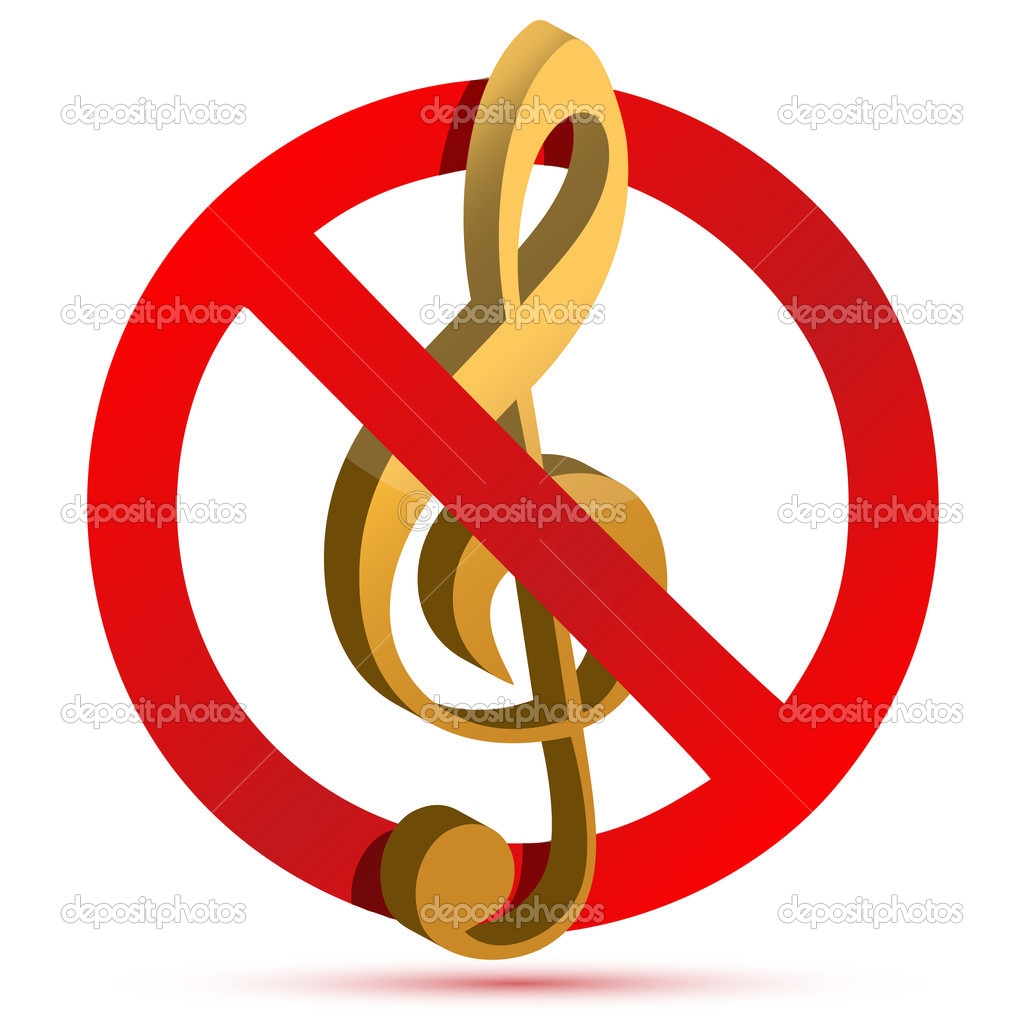 symbol silent warning music notes places three depositphotos