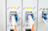 Fiber Optic cables connected to an optic ports — Stock Photo
