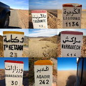 Composition of signs road in Morocco — Stock Photo