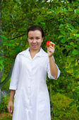 Happy smiling doctor with apple — Стоковое фото