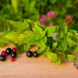 Red and black currants on a wooden board — Stock Photo