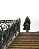 Blonde, Stairs and railings, metal construction — Stock Photo