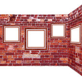 Frames old leather on a brickwall — Stock Photo