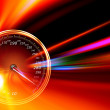 Acceleration speedometer on night road — Stock Photo