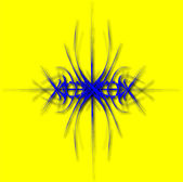 Fantastische blauwe abstractie van lijnen op geel — Vector de stock