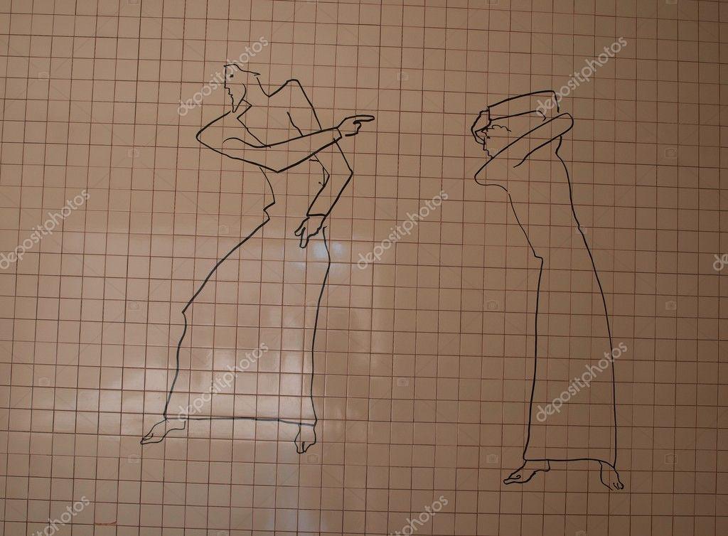 Acusaci n dibujo en una pared cubierta con azulejos - Azulejos con dibujos ...
