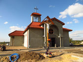 BUILDING CATHOLIC CHAPEL IN DYRDY — Stock Photo