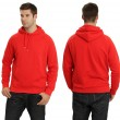 Male wearing blank red hoodie - Stock Photo