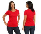 Mujer vistiendo camisa roja en blanco — Foto de Stock