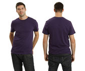 Male wearing blank purple shirt — Stock Photo