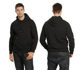 Male wearing blank black hoodie — Stock Photo
