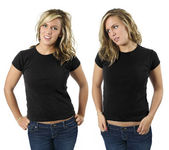 Female with blank black shirts — Stock Photo
