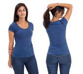 Female wearing blank blue shirt — Stock Photo