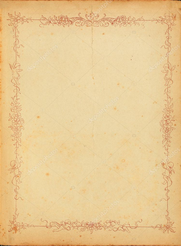 Photo of old stained yellowed paper from the 1920s with a floral border design. — Stock Photo #7655051