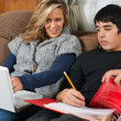 Students doing homework together — Stock Photo