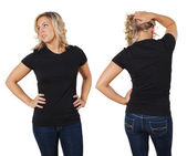 Female posing with blank black shirt — Stock Photo