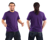Excited male with blank purple shirt — Stock Photo