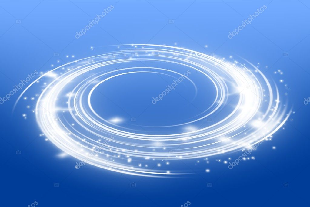 Glowing swirl perspective with copy space in middle, suitable for an object presentation and enhancing. Gradient blue background  Stock Photo #7257377