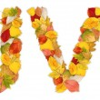 Stock Photo: Characters U and V made of autumn leaves