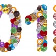 Foto de Stock  : Numbers 0 and 1 made of clothing buttons