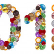 Foto Stock: Numbers 0 and 1 made of clothing buttons
