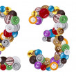 Numbers 2 and 3 made of clothing buttons — Stock fotografie #7381607
