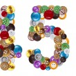 Foto de Stock  : Numbers 4 and 5 made of clothing buttons