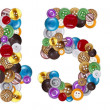 Foto Stock: Numbers 4 and 5 made of clothing buttons