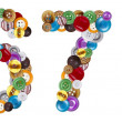 Foto Stock: Numbers 6 and 7 made of clothing buttons