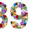 图库照片: Numbers 8 and 9 made of clothing buttons
