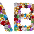 Characters and B made of clothing buttons — Stockfoto #7381624