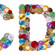 Stockfoto: Characters C and D made of clothing buttons