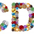 Characters C and D made of clothing buttons — Stockfoto #7381629