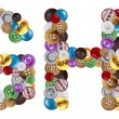 Characters G and H made of clothing buttons — Stock Photo #7381643