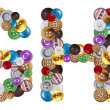 Stockfoto: Characters G and H made of clothing buttons