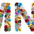 Characters M and N made of clothing buttons — Zdjęcie stockowe #7381655