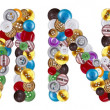 Characters M and N made of clothing buttons — Stock fotografie #7381655
